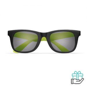 Klassieke zonnebril gekleurde pootjes limegroen bedrukken