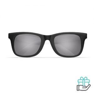 Klassieke zonnebril gekleurde pootjes wit bedrukken