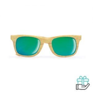 Klassieke zonnebril houtlook houtkleur bedrukken