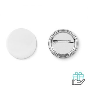 Klein metalen button mat zilver bedrukken