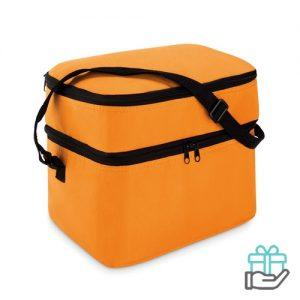 Koeltas polyester 600D oranje bedrukken