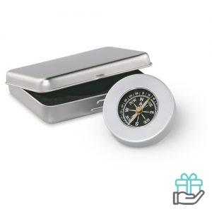 Kompas mat zilver bedrukken