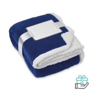 Koraal fleece deken blauw bedrukken