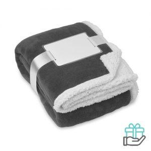 Koraal fleece deken grijs bedrukken