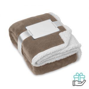 Koraal fleece deken khaki bedrukken