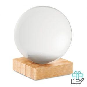 Kristalglazen bal bamboe standaard transparant bedrukken