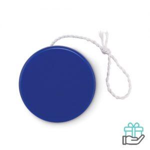 Kunststof jojo koninklijk blauw bedrukken