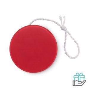 Kunststof jojo rood bedrukken