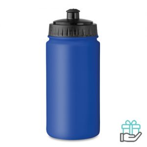Kunststof sportdrinkfles 500ml koninklijk blauw bedrukken