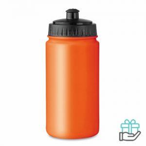 Kunststof sportdrinkfles 500ml oranje bedrukken
