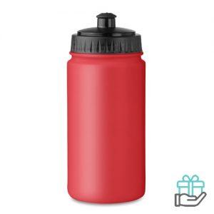 Kunststof sportdrinkfles 500ml rood bedrukken