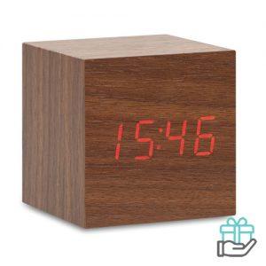 LED klok MDF houtkleur bedrukken