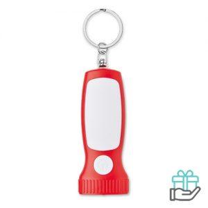 LED zaklamp sleutelhanger rood bedrukken
