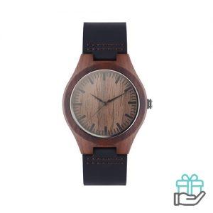 Lederen horloge bruin bedrukken