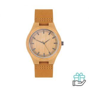 Lederen horloge houtkleur bedrukken
