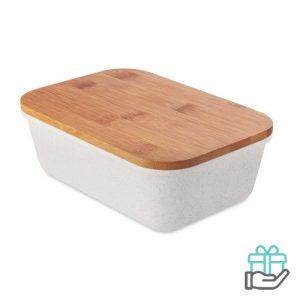 Lunchbox bamboe deksel beige bedrukken