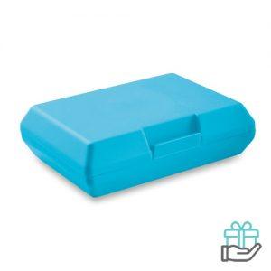 Lunchbox basic turquoise bedrukken