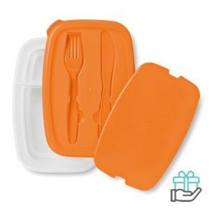Lunchbox bestek oranje bedrukken