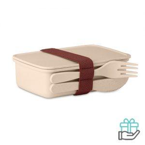 Lunchbox luxe beige bedrukken