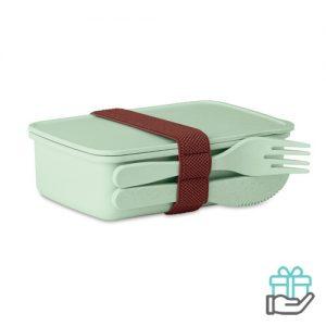 Lunchbox luxe groen bedrukken