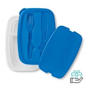 Lunchbox simpel blauw bedrukken