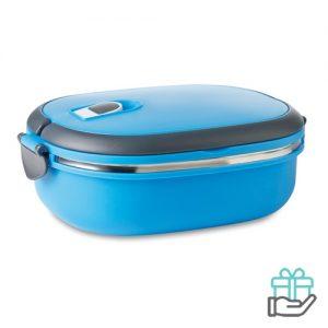 Lunchbox vacuum turquoise bedrukken