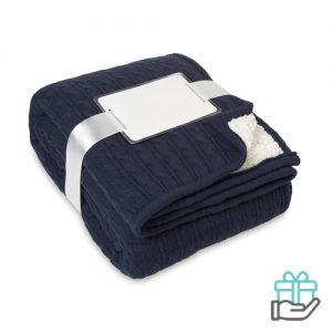 Luxe sherpa deken blauw bedrukken