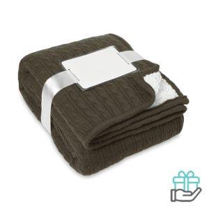 Luxe sherpa deken khaki bedrukken