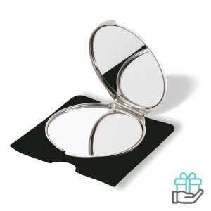 Make-up spiegel alu mat zilver bedrukken