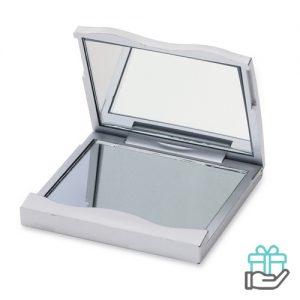 Make-up spiegel pocketsize zilver bedrukken