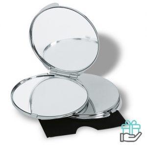 Make-up spiegel rond fluweel glimmend zilver bedrukken
