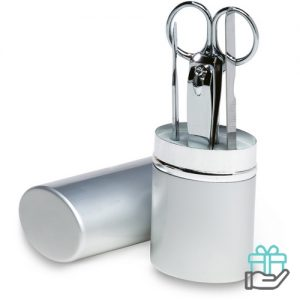 Manicureset aluminium koker mat zilver bedrukken