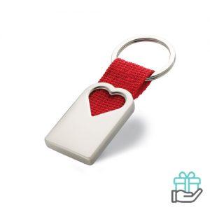 Metalen sleutelhanger hartvorm rood bedrukken