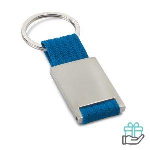 Metalen sleutelhanger polyester band blauw bedrukken