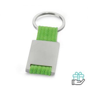 Metalen sleutelhanger polyester band limegroen bedrukken