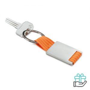 Metalen sleutelhanger polyester band oranje bedrukken