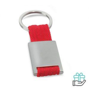 Metalen sleutelhanger polyester band rood bedrukken