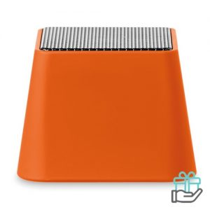 Mini bluetooth speaker vierkant oranje bedrukken