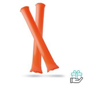 Opblaasbare cheering sticks oranje bedrukken