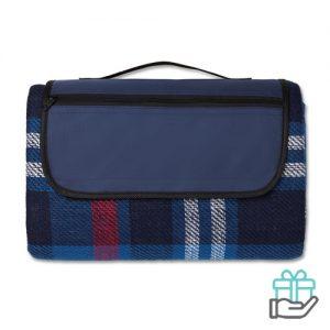 Opvouwbaar picknickkleed blauw bedrukken