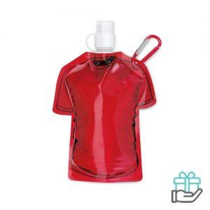 Opvouwbare drinkfles 480ml rood bedrukken