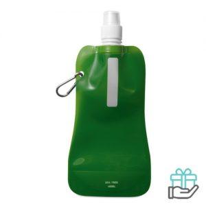 Opvouwbare drinkfles BPA vrij transparant groen bedrukken