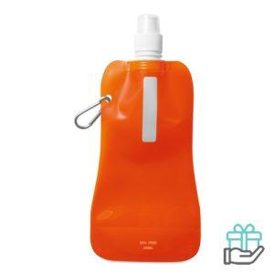 Opvouwbare drinkfles BPA vrij transparant oranje bedrukken