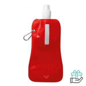 Opvouwbare drinkfles BPA vrij transparant rood bedrukken
