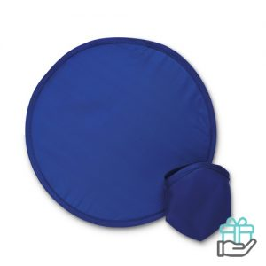 Opvouwbare nylon frisbee blauw bedrukken