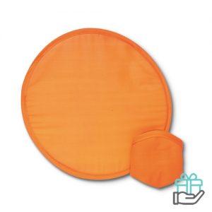 Opvouwbare nylon frisbee oranje bedrukken