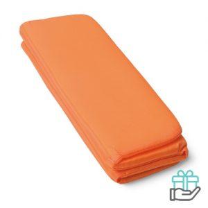 Opvouwbare zitmat oranje bedrukken