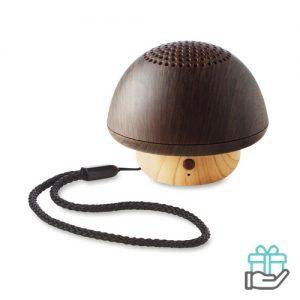 Paddenstoel luidspreker bruin bedrukken