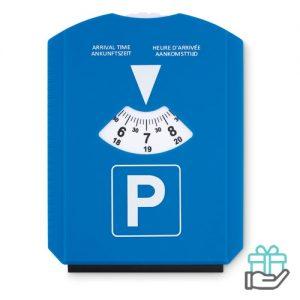 Parkeerkaart ijskrabber blauw bedrukken