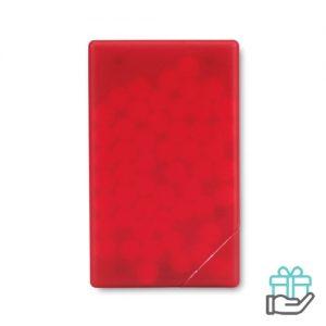 Pepermuntdispenser creditcard transparant rood bedrukken